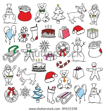 fully editable vector illustration of Christmas items