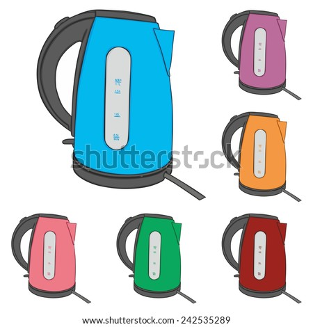 fully editable vector illustration of electric kettles