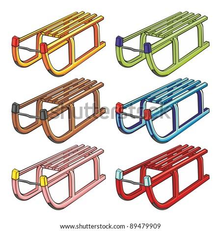 fully editable vector illustration of isolated sleighs - stock vector