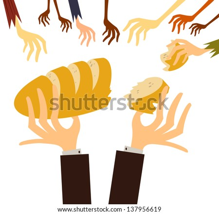 Fully editable vector illustration of several children reaching for bread that is being distributed by a well dressed white gentleman, for any hunger or poverty concept - stock vector