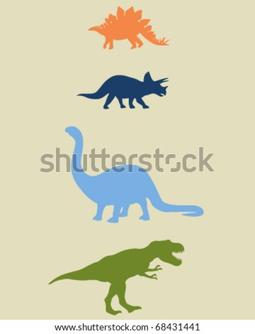 Fully editable vector illustrations of dinosaurs, including stegosaurus, triceratops, brachiosaurus or apatosaurus, and tyrannosaurus. - stock vector