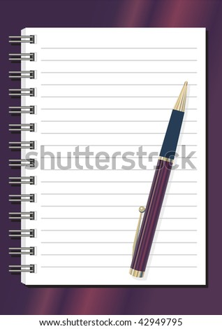 fully editable vector of notepad and pen - stock vector