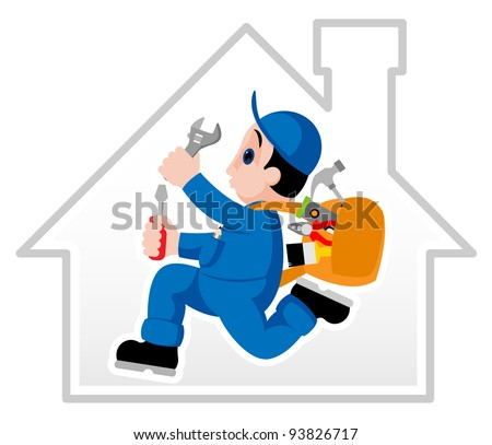Fully equipped handyman hurrying on his assignment - stock vector