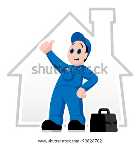 Fully equipped handyman with thumb up and suitcase - stock vector