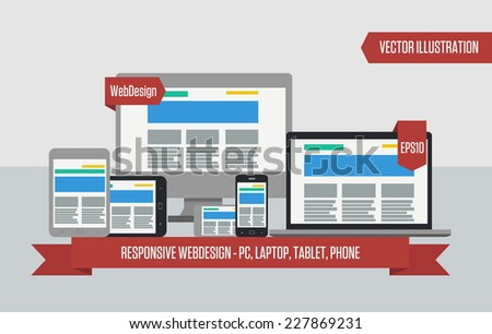 Fully responsive flat web design in electronic devices. Vector illustration. eps10 - stock vector