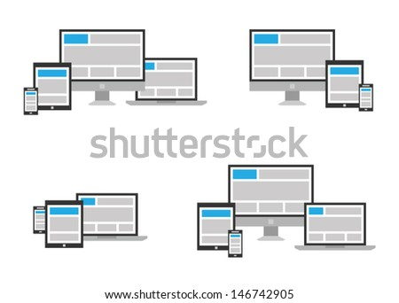 Fully responsive web design icon in different positions - stock vector