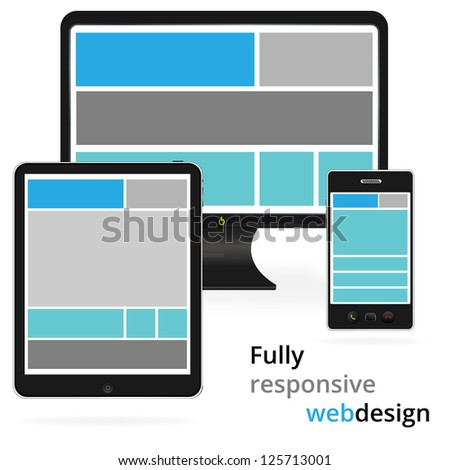 Fully responsive web design in electronic devices - stock vector