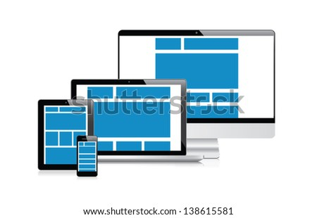 Fully responsive web design products vector eps10 - stock vector