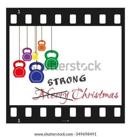 Fully vector Christmas card with filmstrip, kettlebells like christmas decorations