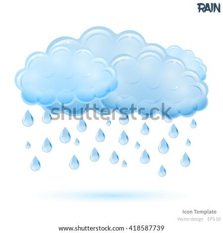 Fully vector rain icon template. Glossy blue cloud object. Glossy raindrops object. Rain icon template with blue shadow. Rain template icon for various use. - stock vector