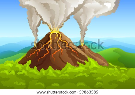 fuming volcano among green forest - stock vector