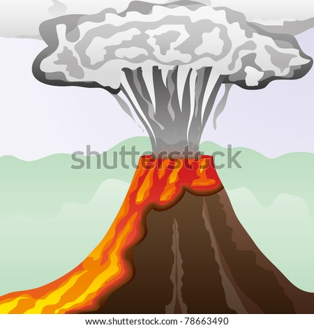 Fuming volcano with fiery lava and big column of smoke, vector illustration - stock vector