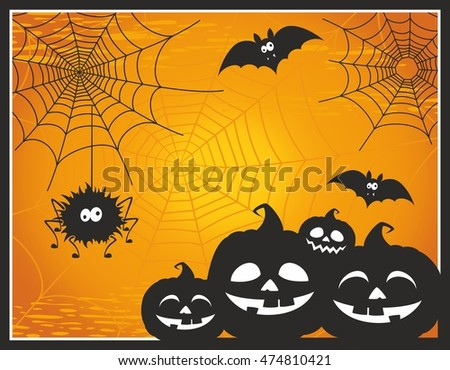 Fun and cute cartoon Halloween post card with pumpkins, spider, bats and web. Happy Halloween greeting card. Halloween vector illustration. Halloween background