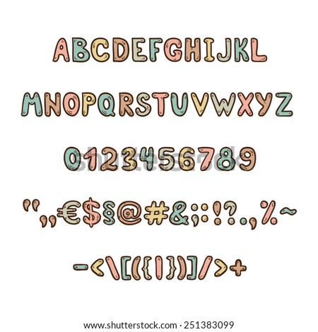 Fun and cute children's alphabet and figures - stock vector