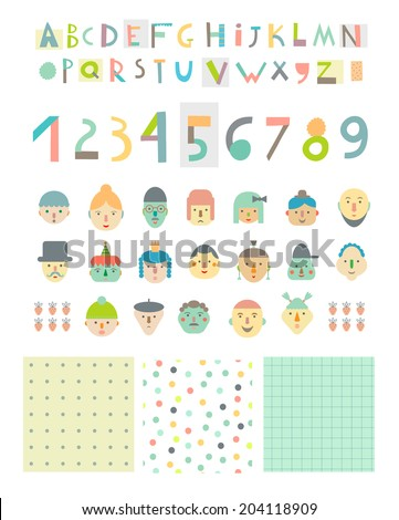 Fun and cute paper cut alphabet and figures, different funny faces plus three seamless patterns. Isolated. Vector - stock vector