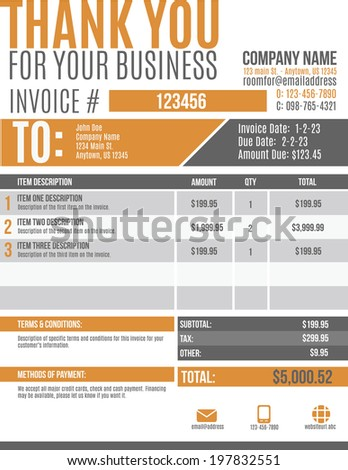 Fun and modern customizable Invoice template design - stock vector