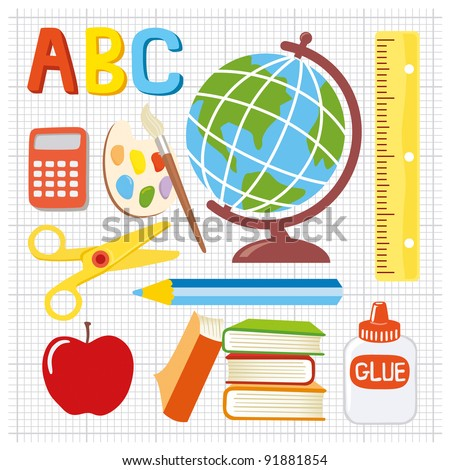 Fun and playful school icons in vector format - stock vector