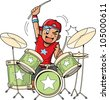 Fun anime and manga style cartoon drummer rocks out when he's playing drums - stock vector