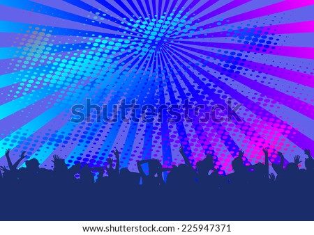 fun background with silhouettes of dancing people  - stock vector