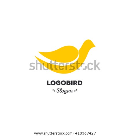 Fun, beauty, isolated, cartoon, geek dove, vector shape, stylish, minimalistic, flat, elegant, silhouette stylized logotype, yellow color logo template. Dove, bird, wings, tail, duck wings, tail, duck - stock vector