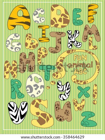 Fun bright font with wild animals fur prints.