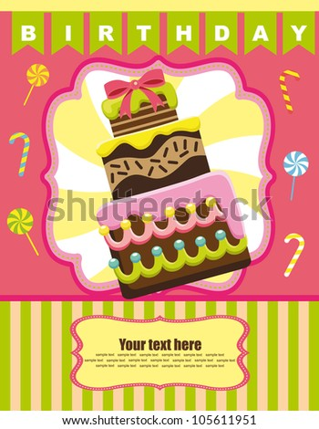 fun card with cake. vector illustration