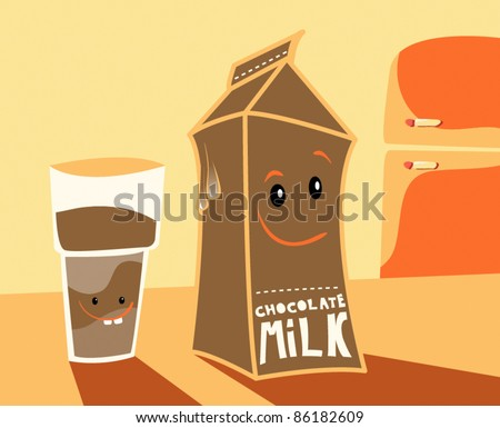 fun carton and glass of milk characters in kitchen for kids - stock vector