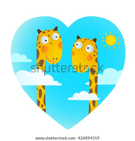 Fun Cartoon Baby Giraffe Animals in Love for Kids Drawing, Funny friends love giraffes cartoon in heart shape with clouds and sun background for children. Wildlife childish illustration. Vector EPS10. - stock vector