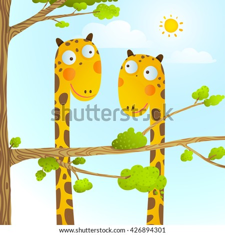 Fun Cartoon Baby Giraffe Animals in Wild for Kids Drawing. Funny friends giraffes cartoon in nature or zoo with trees background for children. Wildlife childish illustration. Vector EPS10. - stock vector