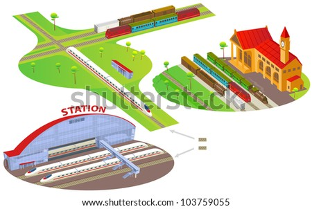 Fun cartoon map elements: railway stations, trains.  Each building and ground are in the separate layer. (set #10) - stock vector
