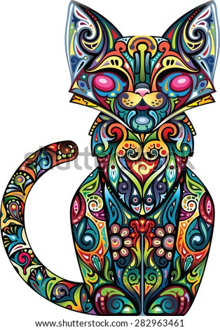 fun cat - stock vector