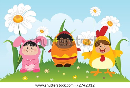 Fun Children Wearing Easter Theme Costumes - stock vector