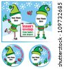 Fun Christmas Vector Greeting Card and Gift Tags.  Simply add your own photo face to complete the picture. - stock photo