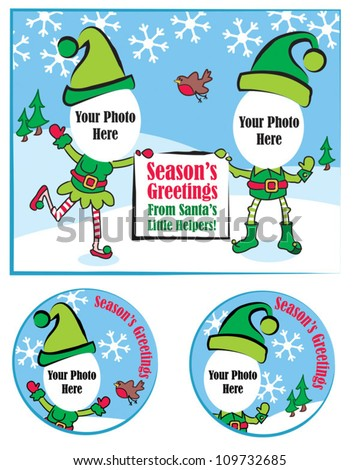 Fun Christmas Vector Greeting Card and Gift Tags.  Simply add your own photo face to complete the picture. - stock vector
