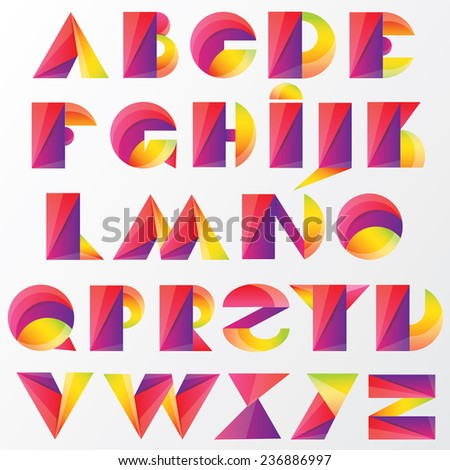 Fun Colorful Abstract Bold Alphabet Letters Stock Vector