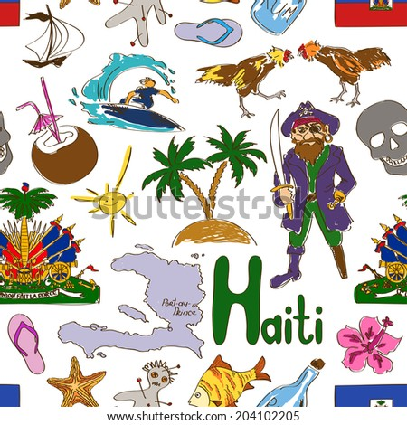 Fun colorful sketch Haiti seamless pattern