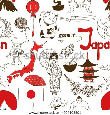 Fun colorful sketch Japan seamless pattern - stock vector
