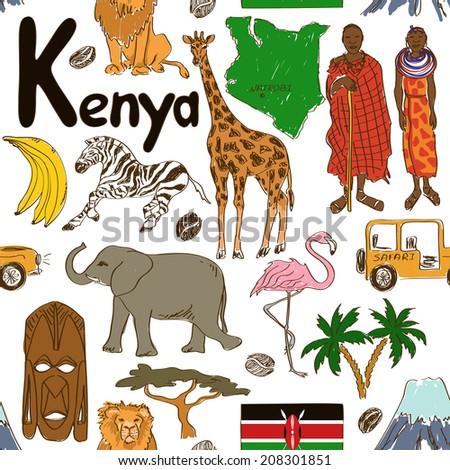 Fun colorful sketch Kenya seamless pattern - stock vector