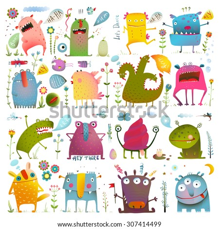 Fun Cute Cartoon Monsters for Kids Design Collection. Vivid fabulous incredible creatures design elements big bundle isolated on white. EPS10 vector has no background color. - stock vector