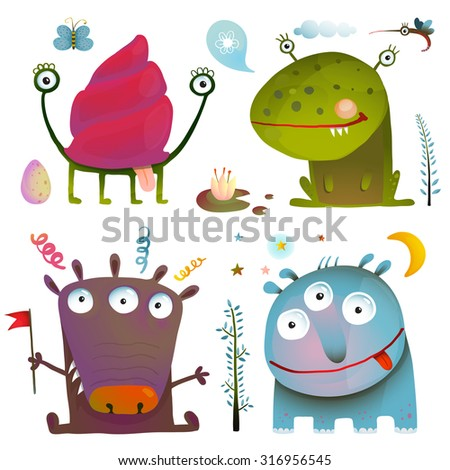 Fun Cute Little Monsters for Kids Design Colorful Collection. Big set of hand drawn black and white outline literature covers illustration.  - stock vector
