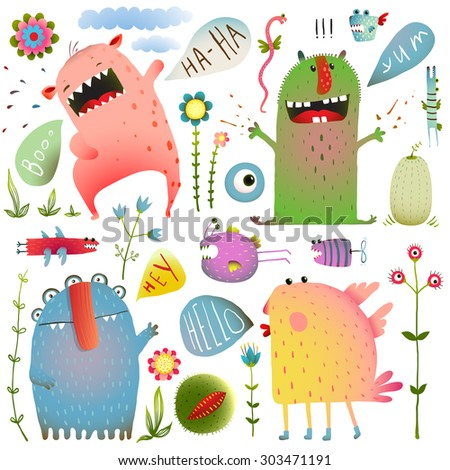 Fun Cute Monsters for Kids Design Colorful Collection with Flowers and Speech Bubbles. Bright imaginary characters design elements set isolated on white. EPS10 vector has no background color. - stock vector