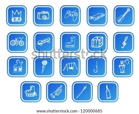 fun element icons set - stock vector