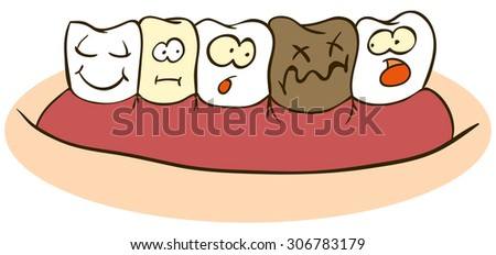 Fun Faces On  Teeth, cartoon characters isolated on white - stock vector
