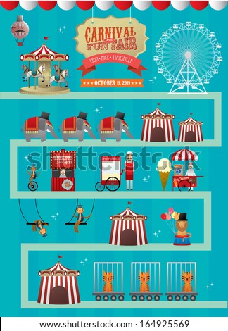 fun fair/ fairground/ circus vector/illustration - stock vector