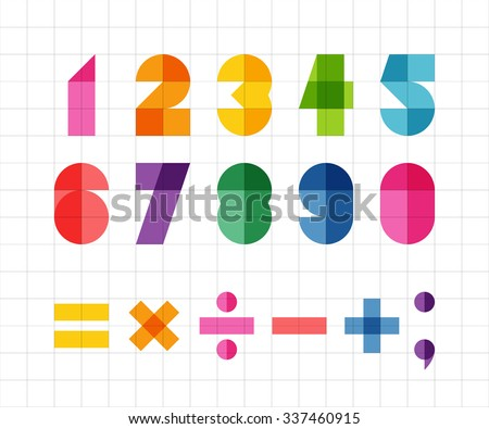 Fun geometric digits and mathematical signs with multiply color effect - stock vector
