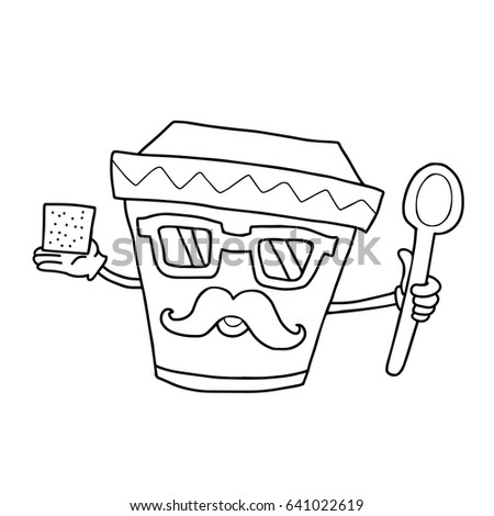 Hipster Coloring Book Fun Flat Pizza Burger Coffee Stock Vector 383069647