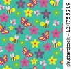 fun insects seamless pattern. vector illustration - stock vector
