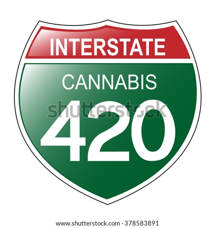 Fun Interstate 420 in the state of Cannabis, with green background. Vector EPS-10 file, transparency used.