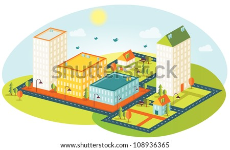 Fun isometric building map - stock vector