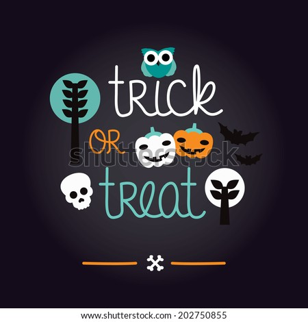 Fun kids halloween illustration pumpkin owl and skull background pattern trick or treat cover design in vector - stock vector